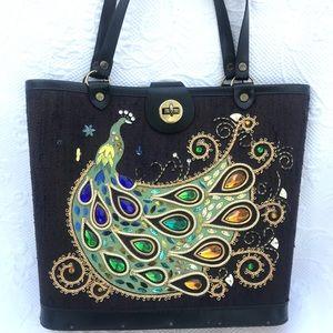 🌺Great Vintage rhinestone Peacock Handbag 🌺